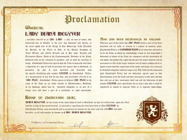Scottish Ladyship Proclamation